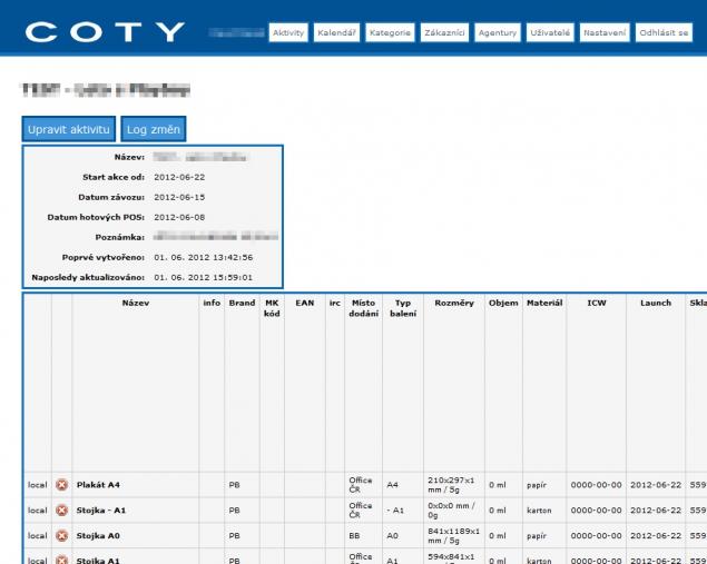 COTY - POS tabulky